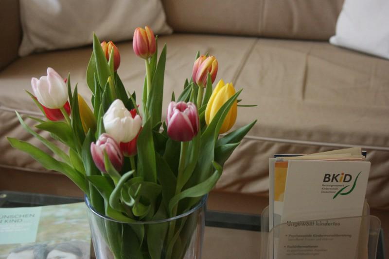 Blumen und Flyer auf Glasstisch im Praxisraum der Kinderwunschberatung Bremen